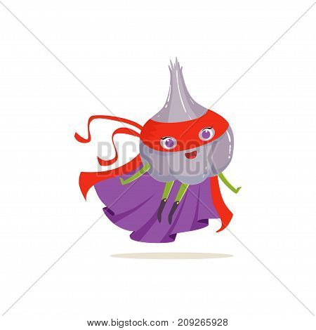 Cartoon character of superhero onion in comics purple cape and red mask. Flying up to the rescue. Vegetable hero avenger. Flat vector isolated on white. For card, kid t-shirt, book illustration.