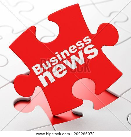 News concept: Business News on Red puzzle pieces background, 3D rendering