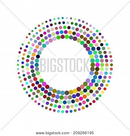 Round frame with colorful mosaics. Circle design element. Color halftone banner. - Stock vector