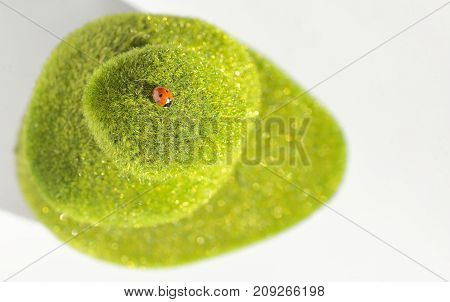 Stack of green stones and ladybug, close up