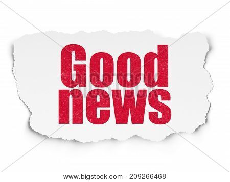 News concept: Painted red text Good News on Torn Paper background with  Tag Cloud