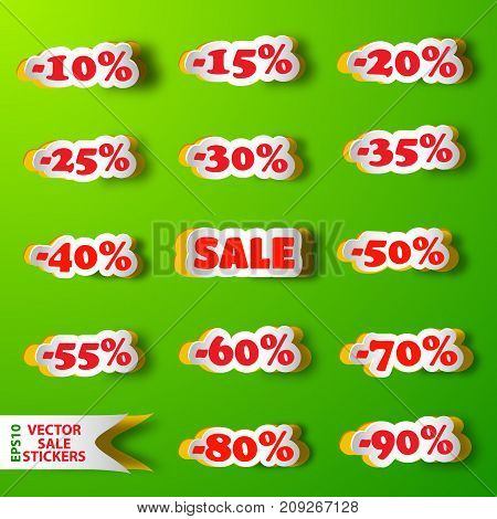 Set of sale stickers in shape of clouds with different discount percentage on green background flat vector illustration