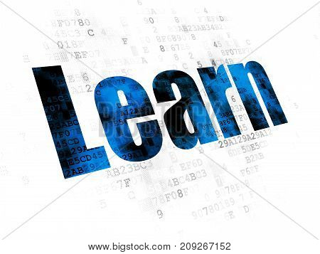 Studying concept: Pixelated blue text Learn on Digital background