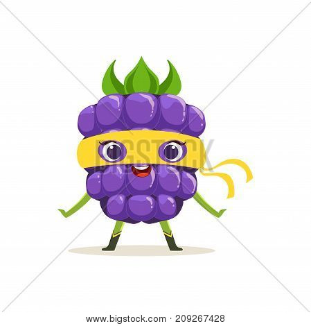 Cheerful cartoon character of superhero blackberry in yellow mask. Fresh berry hero avenger. Healthy nutrition. Flat vector isolated on white. For card, kid t-shirt, book illustration.