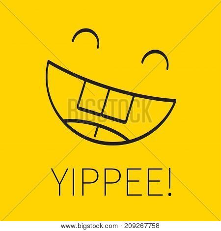 Laughing happy linear smiley emoji emoticon with exclamation yippee. Card for congratulation with victory joy happiness. - Stock vector
