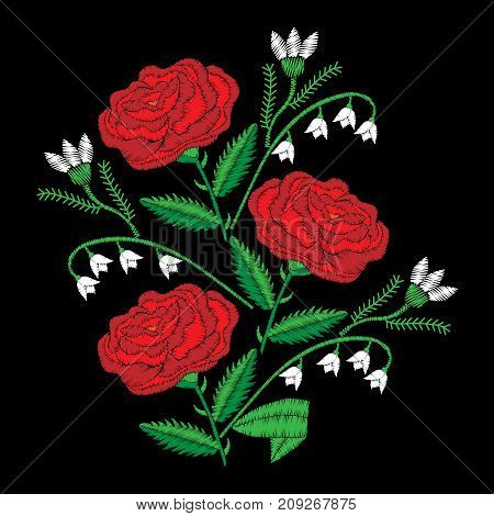 Bouquet with red rose and lily of the valley embroidery stitches imitation. Satin stitch imitation vector illustration.