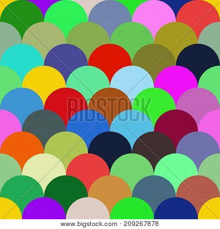 Seamless pattern mermaid tail fish scales. Traditional classic japanese korean chinese background. Layers of circles arcs. - Stock vector