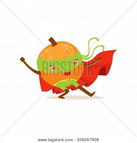 Funny cartoon character of superhero orange in red cape and green mask. Karate fighter pose. Fresh fruit hero avenger. Flat vector isolated on white. For card, kid t-shirt, book illustration.