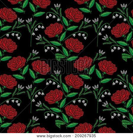 Seamless pattern with little red rose and lily of the valley embroidery stitches imitation. Satin stitch imitation background vector illustration.