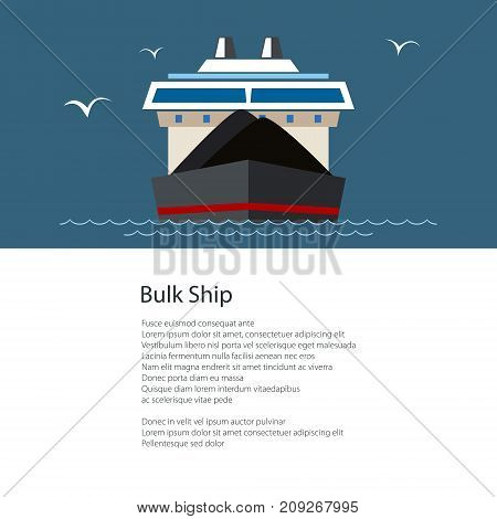 Dry Cargo Ship Transporting Coal by Sea , Cargo Sea Transportation, Poster Brochure Flyer Design, Vector Illustration