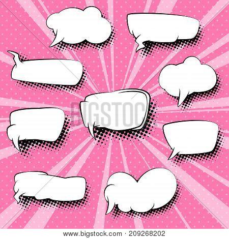 Set of Retro Empty Speech Bubbles for a Quote , Pink Pop Art Background with Dots and Sunbeams , Vector Illustration