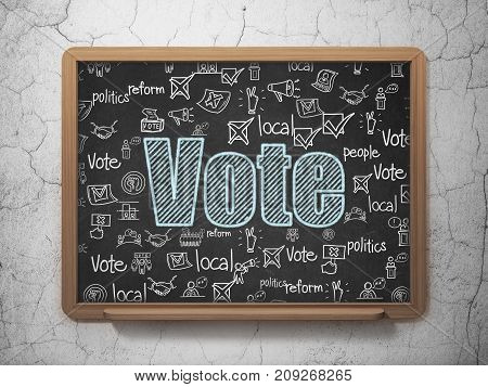 Politics concept: Chalk Blue text Vote on School board background with  Hand Drawn Politics Icons, 3D Rendering