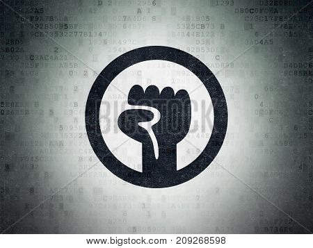 Political concept: Painted black Uprising icon on Digital Data Paper background
