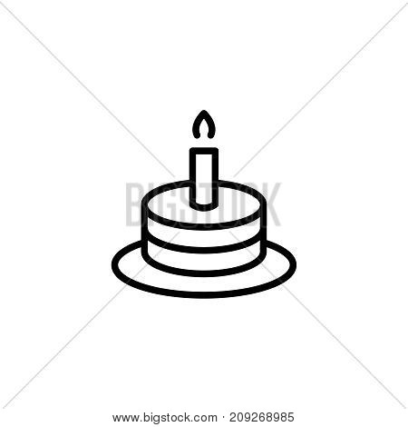 Cake flat icon. Single high quality outline symbol of happy birthday for web design or mobile app. Thin line signs of holiday for design logo, visit card, etc. Outline logo of celebration