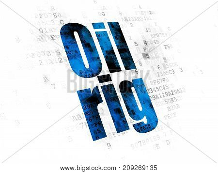 Industry concept: Pixelated blue text Oil Rig on Digital background
