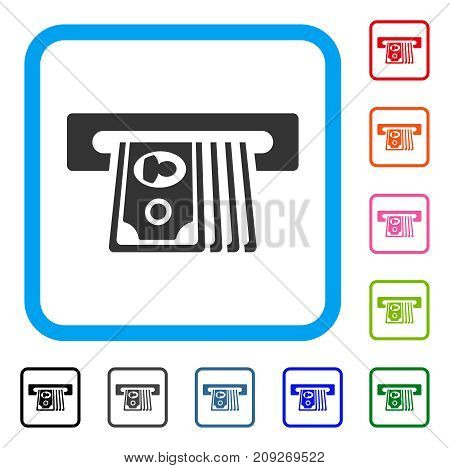 ATM Insert Cash icon. Flat grey iconic symbol inside a light blue rounded rectangular frame. Black, gray, green, blue, red, orange color versions of ATM Insert Cash vector.