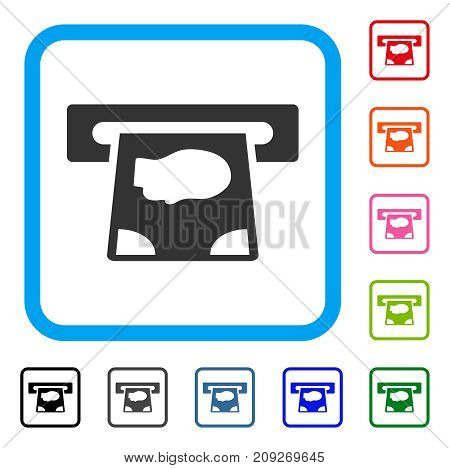 ATM Payment icon. Flat gray iconic symbol in a light blue rounded square. Black, gray, green, blue, red, orange color additional versions of ATM Payment vector.