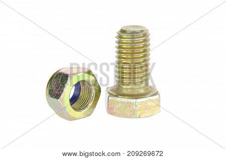 Zinc metal bolt with nut isolated on white background