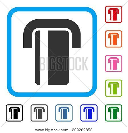 ATM icon. Flat grey pictogram symbol inside a light blue rounded frame. Black, gray, green, blue, red, orange color additional versions of ATM vector. Designed for web and app user interface.