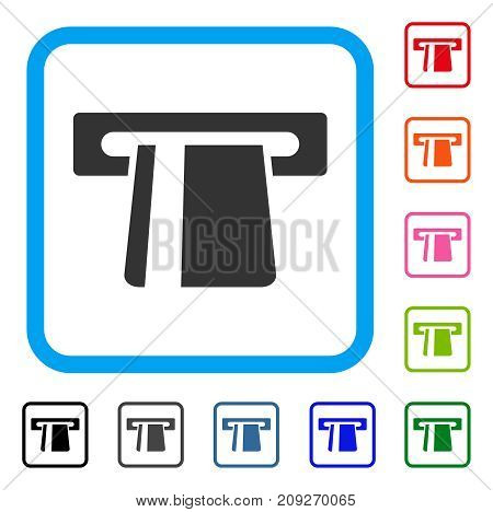 Bank Card Terminal icon. Flat gray pictogram symbol inside a light blue rounded frame. Black, gray, green, blue, red, orange color variants of Bank Card Terminal vector.
