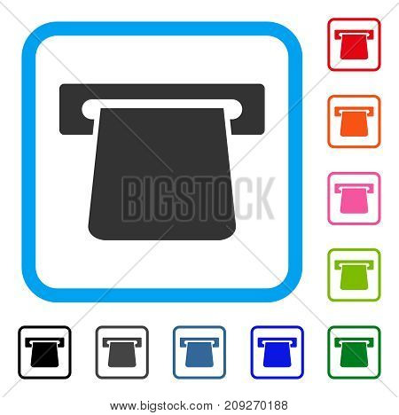 Bank Terminal icon. Flat grey iconic symbol in a light blue rounded frame. Black, gray, green, blue, red, orange color variants of Bank Terminal vector. Designed for web and app interfaces.