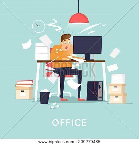 Deadline, the man is panicking. Flat design vector illustration.