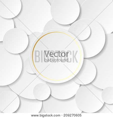 Wyite circle paper cut style with drop shadow on black background. Modern elegant backdrop. Round notes. Golden circle.