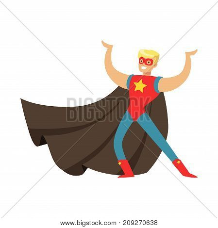 Male superhero in classic comics costume with cape and mask. Smiling flat cartoon character with super powers. Friendly blond man posing and showing muscles. Vector illustration isolated on white