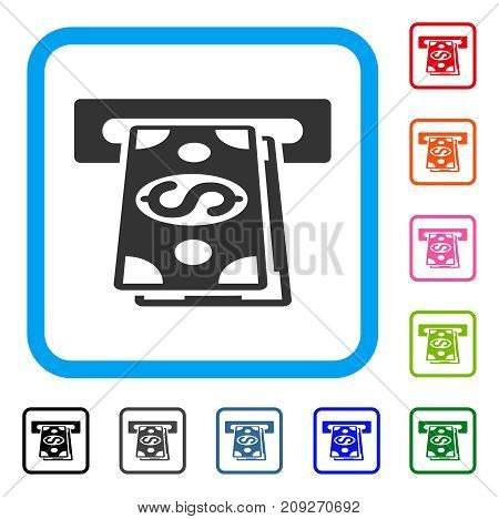 Cash Withdraw icon. Flat grey iconic symbol inside a light blue rounded squared frame. Black, gray, green, blue, red, orange color additional versions of Cash Withdraw vector.