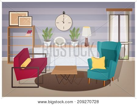 Stylish interior of living room full of modern furniture and home decorations - comfy armchairs, coffee table, shelving with books, houseplants, lamp, wall pictures. Colorful vector illustration