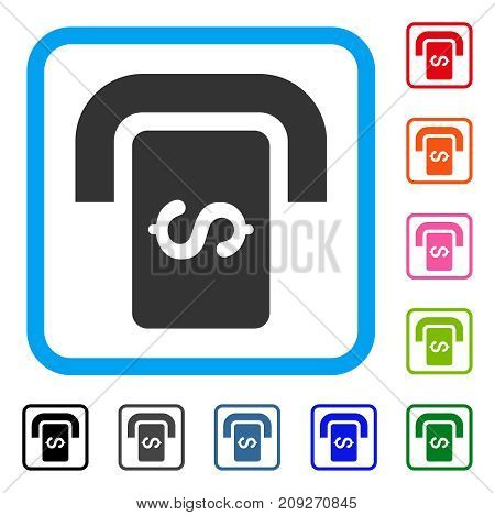 Cashpoint Terminal icon. Flat gray iconic symbol inside a light blue rounded squared frame. Black, gray, green, blue, red, orange color versions of Cashpoint Terminal vector.