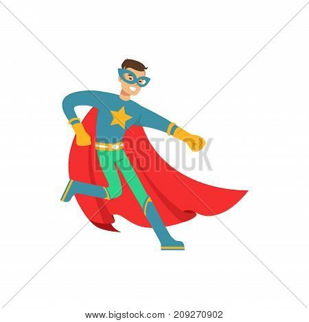 Boy superhero in classic comics costume with red cape and mask. Smiling flat cartoon hero character with super powers. Friendly man dance and have fun. Vector illustration isolated on white