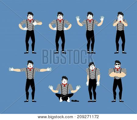 Mime set. Pantomime sad and yoga. bewildered and angry. Mimic happy winks and thumb up. Vector illustration poster