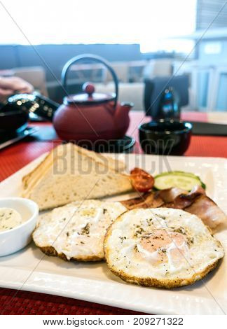 Breakfast with Egg on table