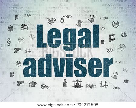 Law concept: Painted blue text Legal Adviser on Digital Data Paper background with  Hand Drawn Law Icons