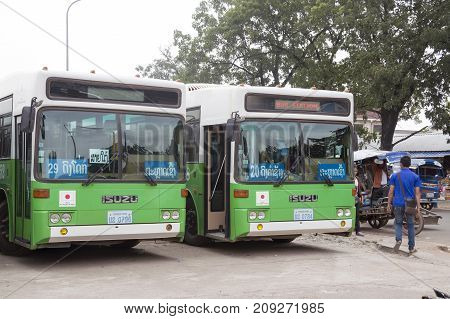 Vientiane, Laos - October 2015: Green City Buses Donated By Japanese Government At Central Bus Stati