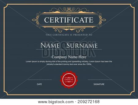vintage certificate elegant flourishes retro vector template