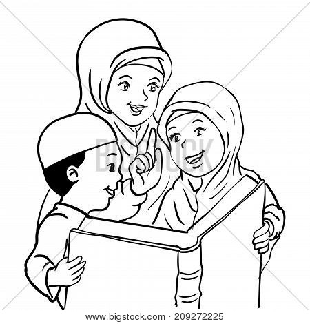 Cartoon Muslim Mother with son and daughter read book Kids read book For Happy Muslim family -Vector Illustration