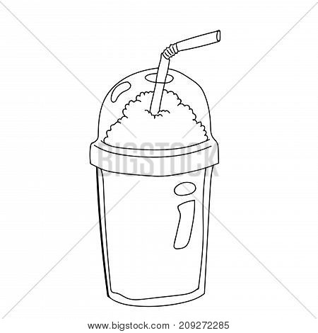 Hand drawing of Plastic Bottle for Coffee Cartoon isolated on white background. Black and White simple line Vector Illustration for Coloring Book - Line Drawn Vector