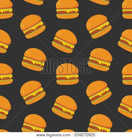Colorful seamless pattern with tasty hamburgers on dark background. Juicy burgers or sandwiches, delicious fast food meal. Modern vector illustration for wallpaper, backdrop, wrapping paper