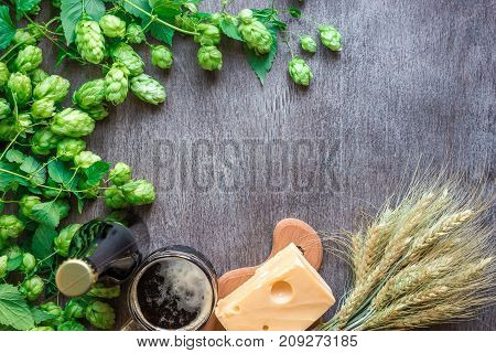 Beer background. Fresh beer and the salty cheese on a table. Top view. Still life. Copy space. Flat lay.