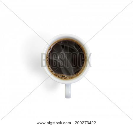 Top view of hot coffee in a white ceramic cup.