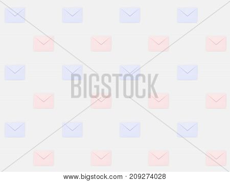 close up of repetitive pattern of colored mail envelopes