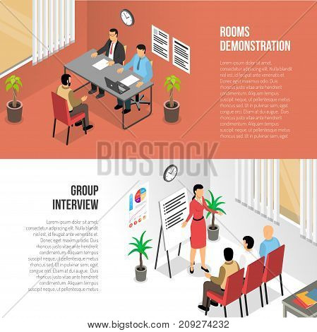 Job interview horizontal banners collection with isometric images of private and group job talks in office vector illustration