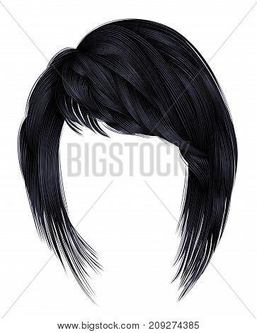 trendy woman hairs kare with fringe .brunette black dark colors . medium length . beauty style . realistic 3d . brunette . poster