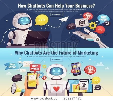 Chatbot horizontal banners with information about application sphere of artificial Intelligence in future cartoon vector illustration