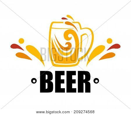 One mug of beer. Vector illustration of a beer sign. Orange and yellow splashes of drink in a mug. Flat style.