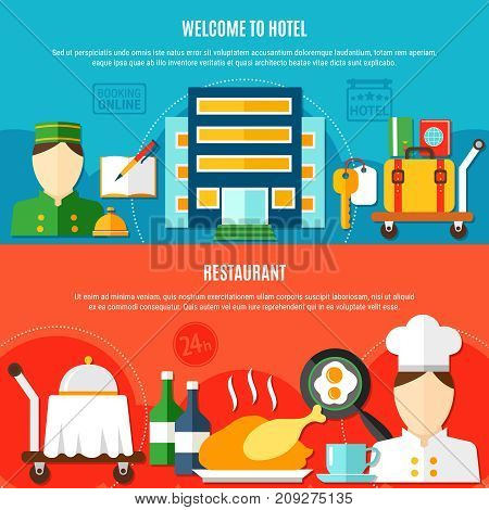 Two hotel banners vector photo free trial bigstock two hotel banners with invitation to visit hotel and elements of restaurant service flat vector illustration stopboris Gallery