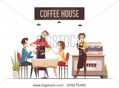 Coffee house design concept with young couple sitting at restaurant table and barista pouring coffee flat vector illustration