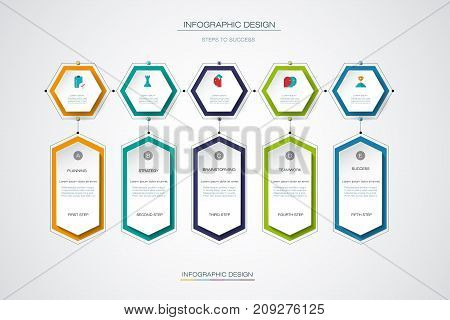 Vector infographics timeline design template with label design and icons 5 options or steps. Can be used for content, business, process infographics, diagram chart, flowchart process diagram, time line